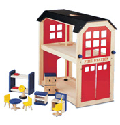 Pintoy Wooden Toy Fire Station
