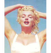 Marilyn on Beach with Hands on Head Colour Poster…