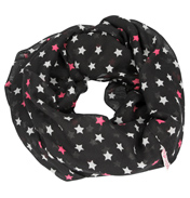 Loopscarf, Black with White & Pink Stars