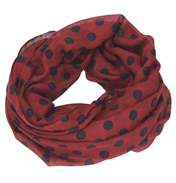 Loopscarf, Burgundy with Dark Blue Dots