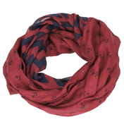 Loopscarf, Burgundy with Blue Anchors