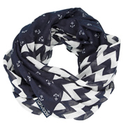 Loopscarf, Dark Blue with White Anchors