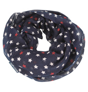 Loopscarf, Dark Blue with White & Red Stars