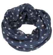 Loopscarf, Indigo with Light Blue & Silver Stars