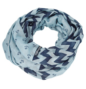 Loopscarf, Light Blue with Dark Blue Anchors