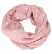 Loopscarf, Pale Pink with White & Silver Stars
