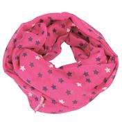 Loopscarf, Dark Pink with Black & Silver Stars
