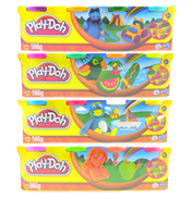 Playdoh 4 Colour Pack PINK, GREEN, ORANGE, YELLOW