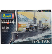 German Destroyer Type 1936 (Level 4) (Scale 1:350)