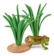 Chameleon In Reeds