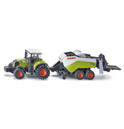 Claas Axion Tractor With Big Baler