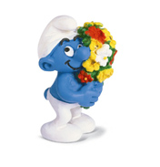 Schleich Smurf with Bouquet of Flowers