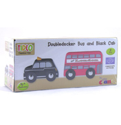 Tidlo Toys Double Decker Bus & Black Cab