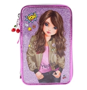Friends Triple Tiered Filled Pencil Case in Pink