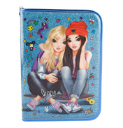Friends Filled Pencil Case in Blue
